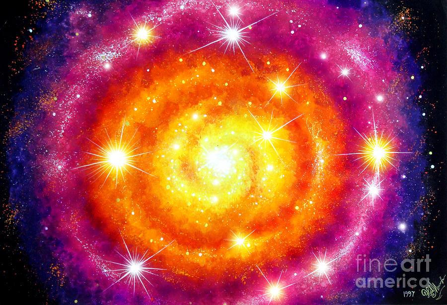 purple orange space galaxy painting - photo #3