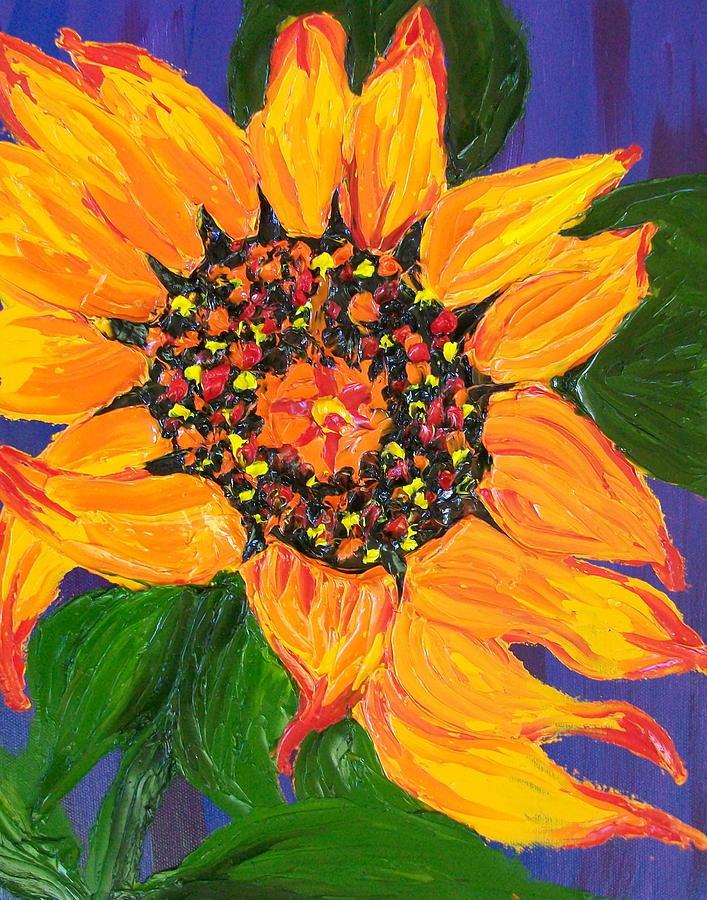 Tuscany Vineyards Painting - Yellow Orange Sunflower 2 by Dunbars Modern Art