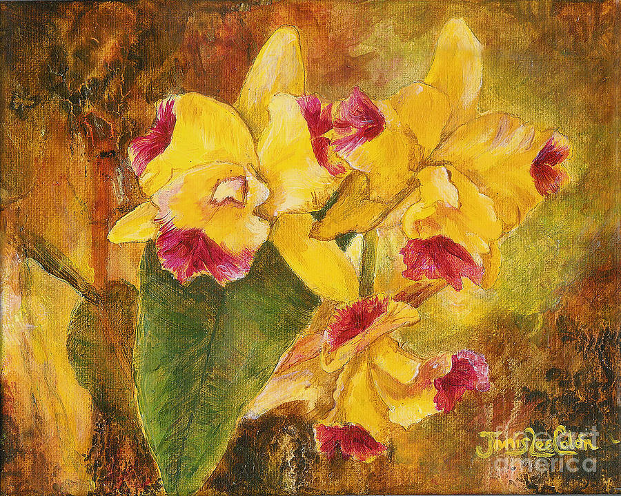 Impressionistic Painting - Yellow Orchids Acrylic by Janis Lee Colon