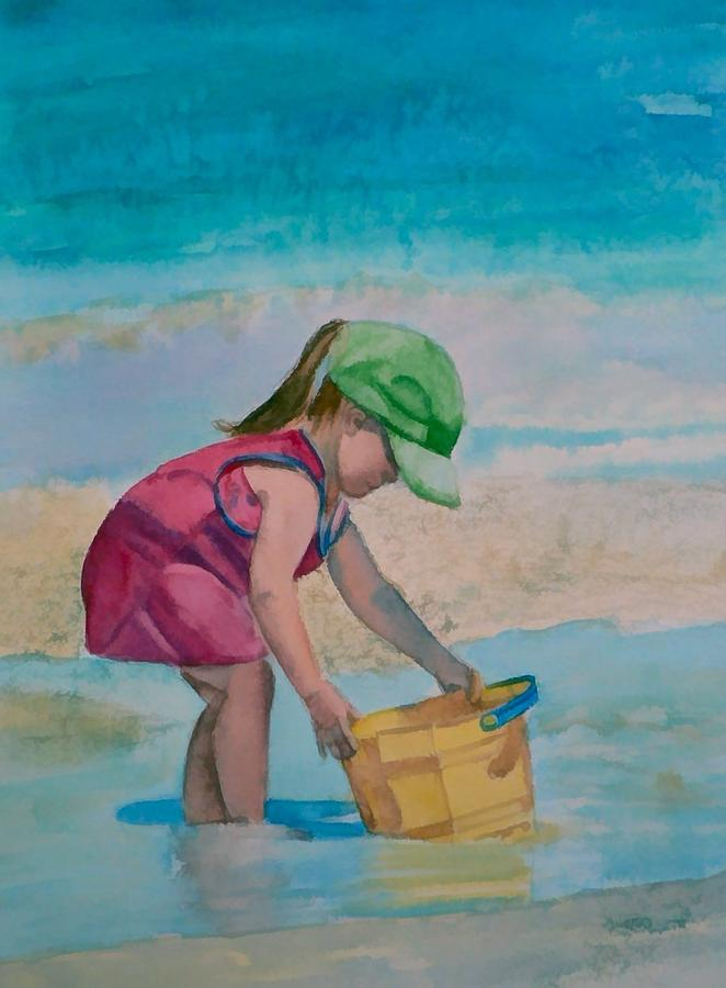 Girl Painting - Yellow Pail by Lynne Atwood