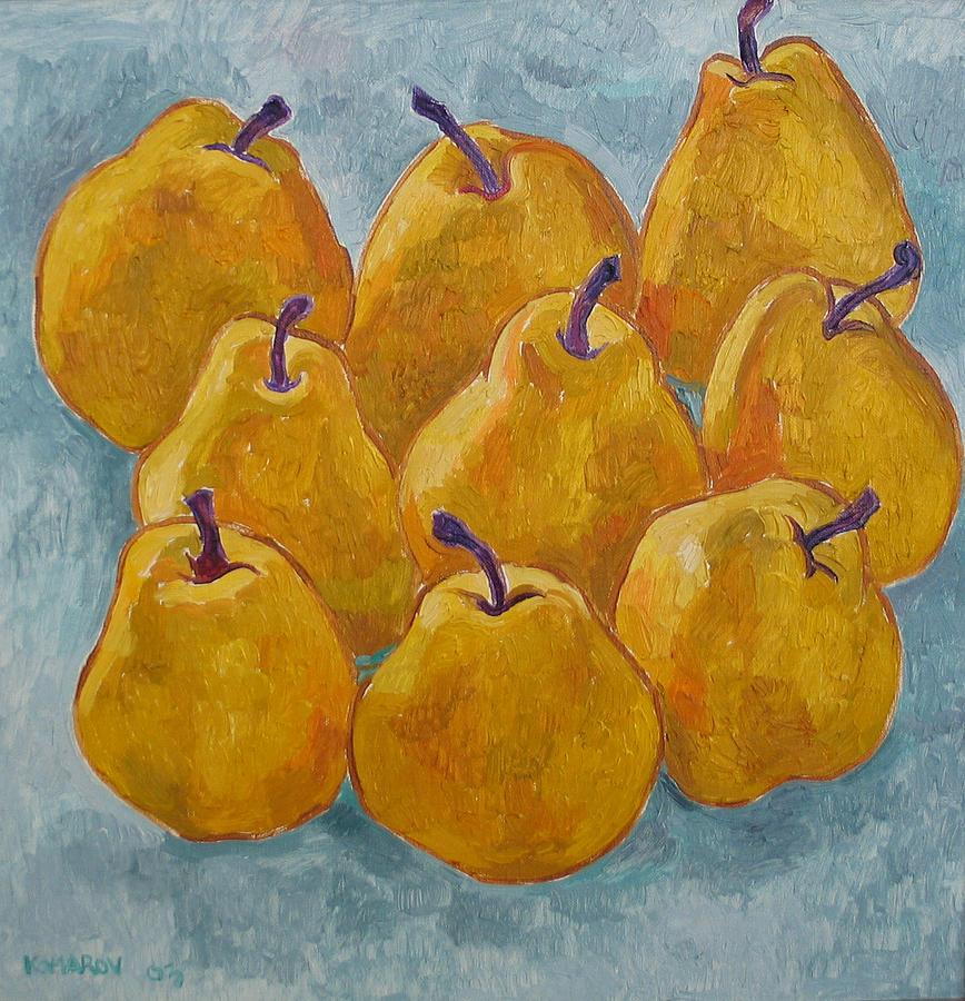 Pears Painting - Yellow Pears by Vitali Komarov