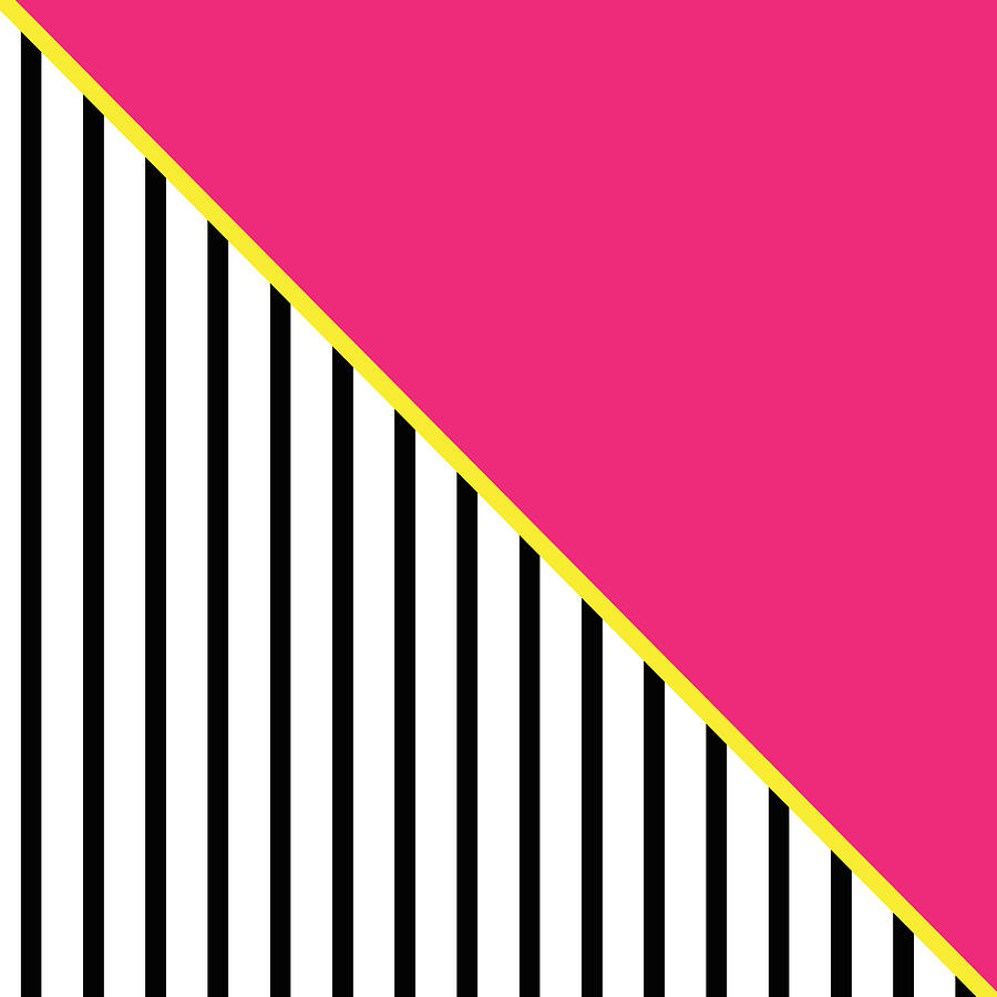 Pink Digital Art - Yellow Pink And Black Geometric 2 by Linda Woods