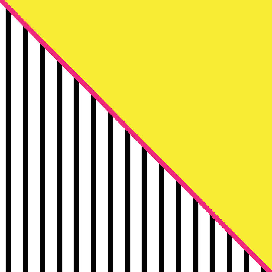 Yellow Pink And Black Geometric Digital Art