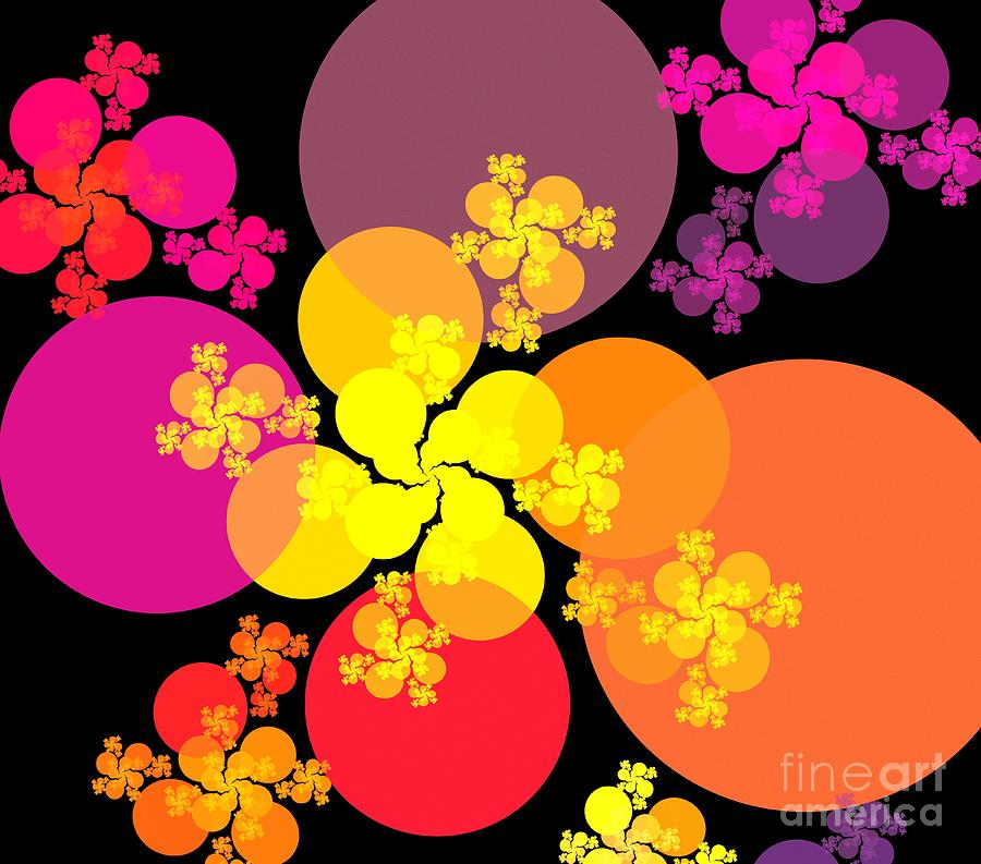 Apophysis Digital Art - Yellow Pink Red Orbs by Kim Sy Ok
