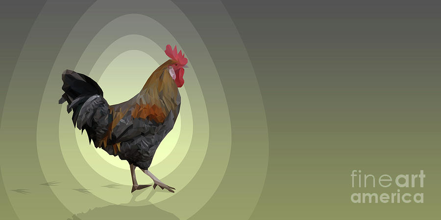 Yellow Polygonal Rooster Digital Art