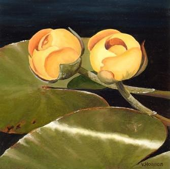 Landscape Painting - Yellow Pond Lilies by Varvara Harmon
