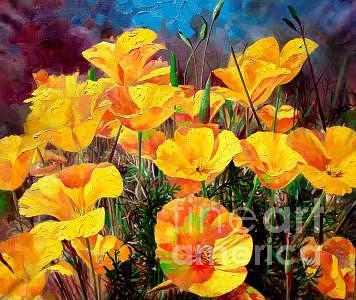 Flower Painting - Yellow Poppy by Bo Li