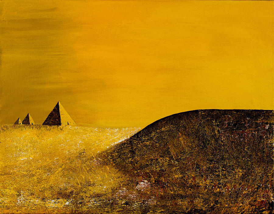 Science Fiction Painting - Yellow Pyramid by Mayhem Mediums