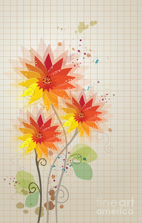 Yellow Red Floral illustration by Heinz G Mielke