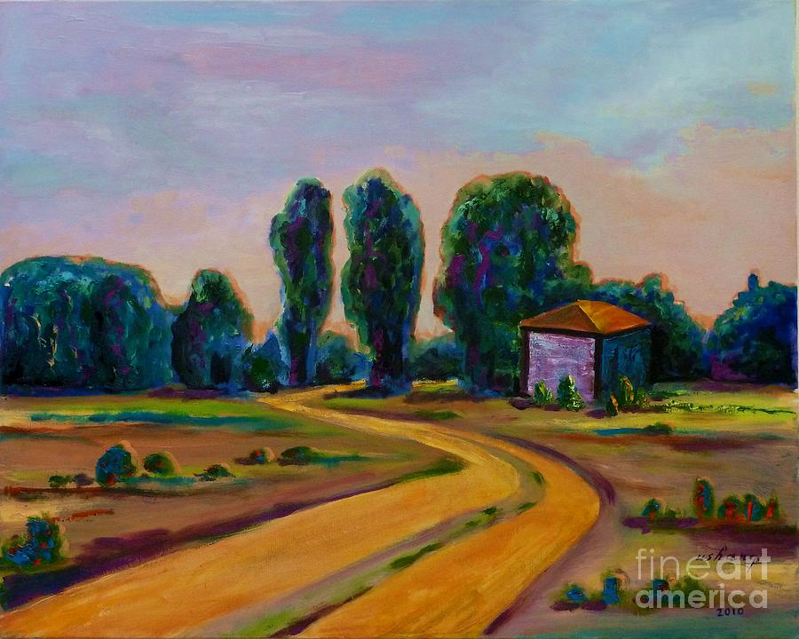Landscape Painting - Yellow Road by Ushangi Kumelashvili