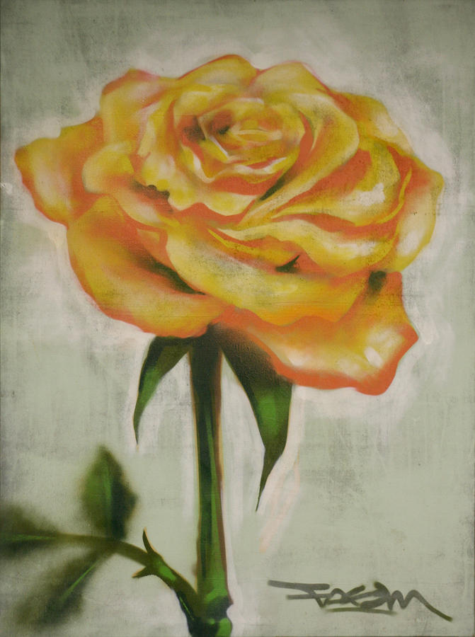 Yellow Painting - Yellow Rose by Aaron Vickery