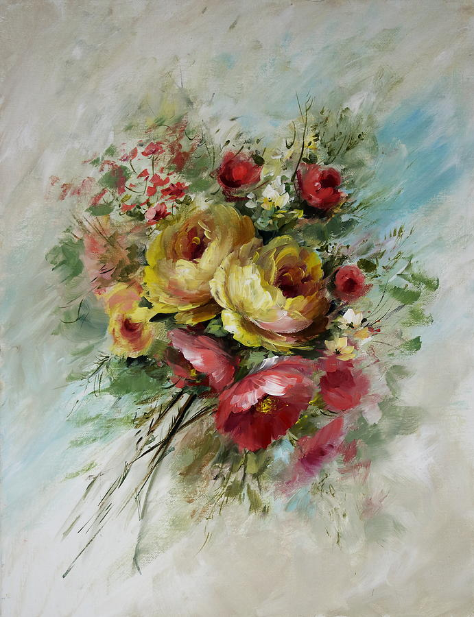 Yellow Rose Bouquet Painting By David Jansen