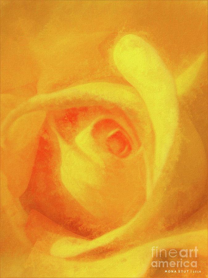 Yellow Rose Floral Macro Mixed Media
