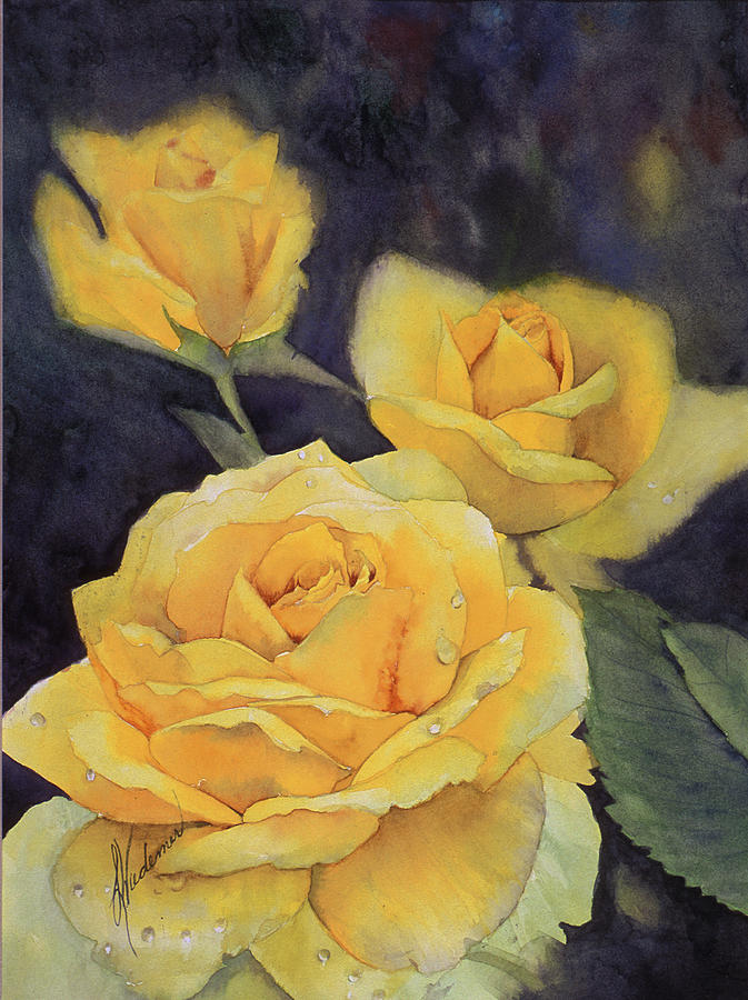 Yellow Roses Painting - Yellow Rose by Leah Wiedemer