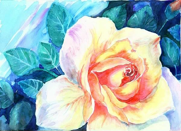 Rose Painting - Yellow Rose by Mousumi Mani