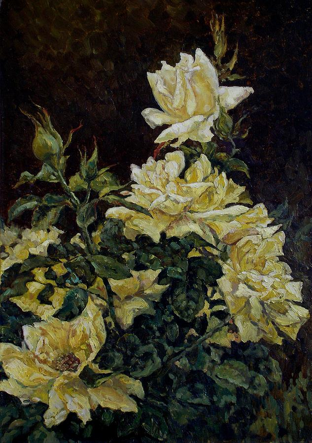 Flowers Painting - Yellow Roses by Andrey Soldatenko