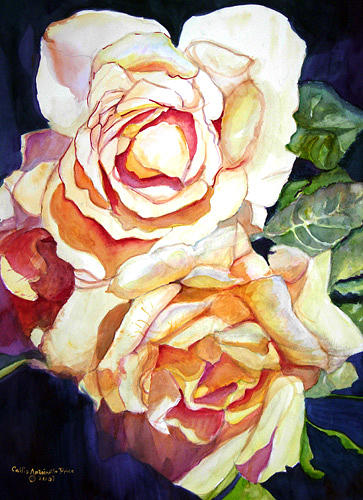 Roses Painting - Yellow Roses by Cecilia Price