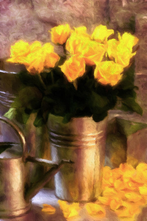 Yellow Roses Impressionism by Georgiana Romanovna