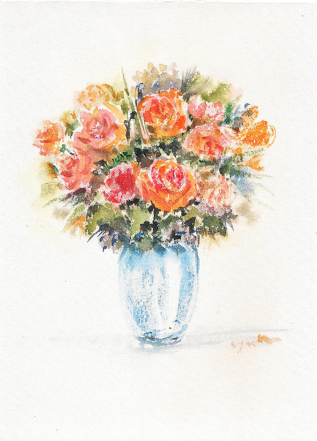Yellow Roses In A Vase Painting By Asha Sudhaker Shenoy