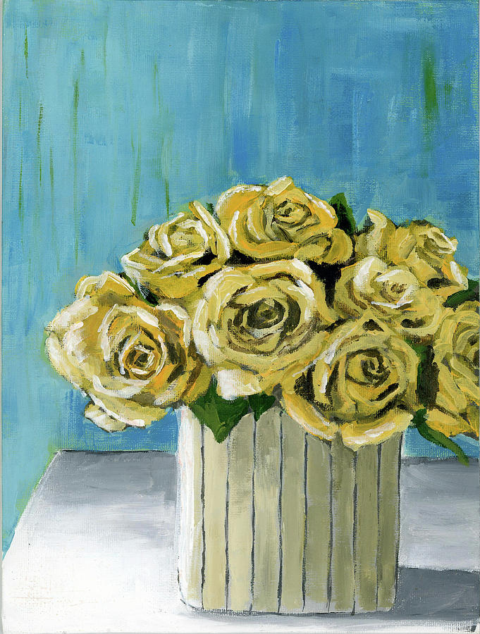 yellow roses in vase by Debbie Brown