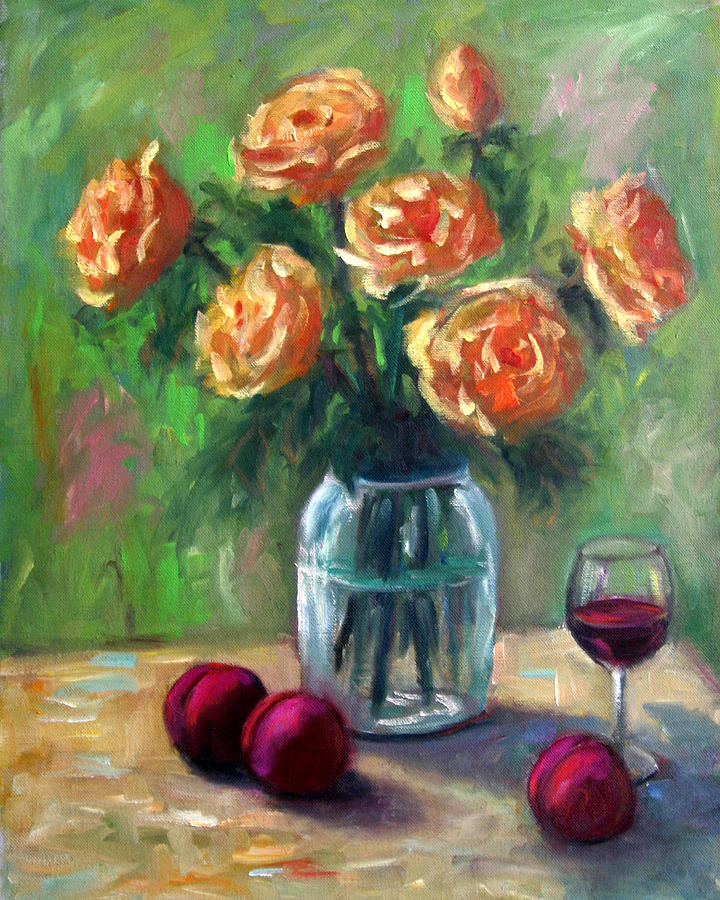 Still Life Painting - Yellow Roses by Lucy Williams