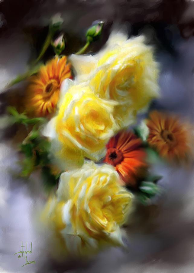 Flowers Digital Art - Yellow Roses by Stephen Lucas