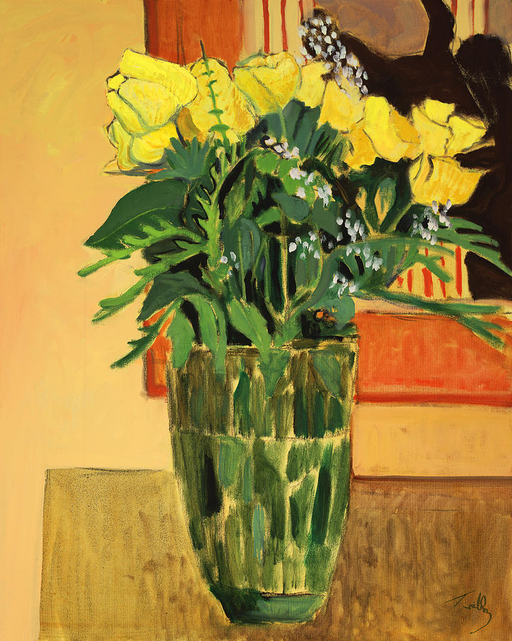 Still Life Painting - Yellow Roses by Thomas Tribby
