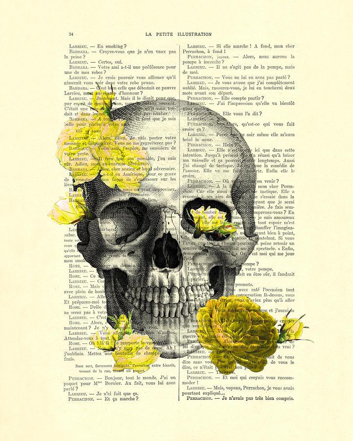 Skull Digital Art - Skull With Yellow Roses Dictionary Art Print by Madame Memento