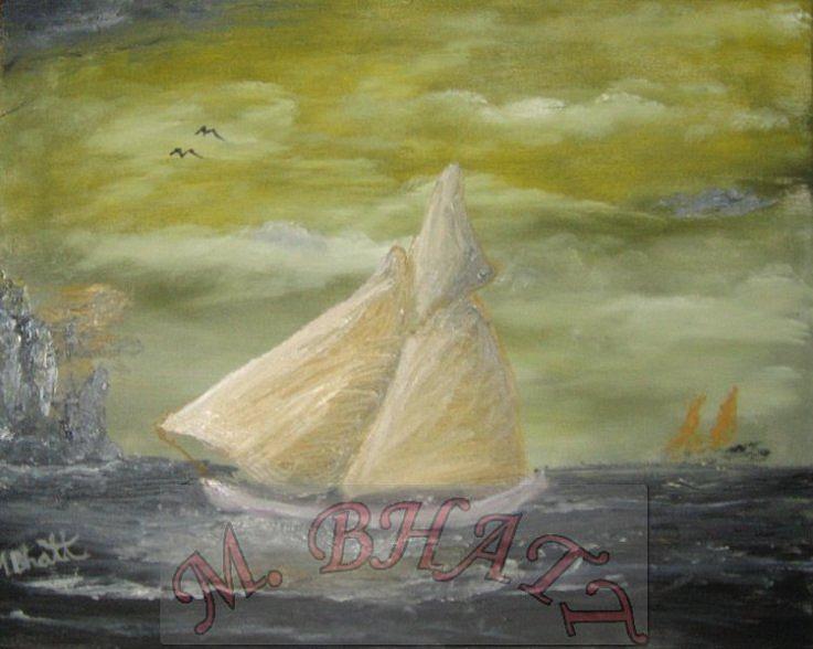 Sail Boat Painting - Yellow Sail Boat by M Bhatt