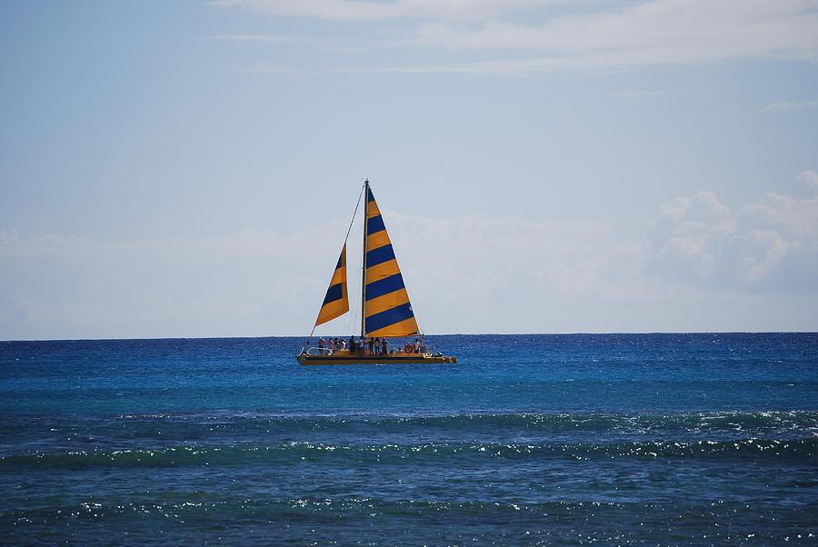 Boat Photograph - Yellow Sails by Lakida Mcnair
