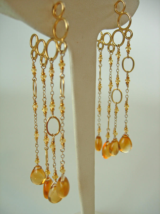 Sapphire Jewelry - Yellow Sapphire And Citrine Mermaid Bubble Hoops by Adove  Fine Jewelry