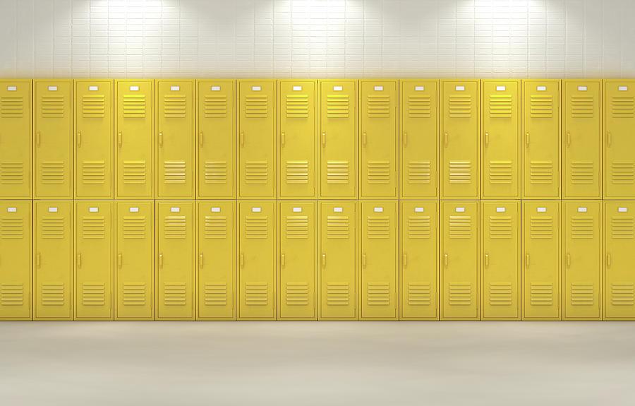 Locker Digital Art - Yellow School Lockers by Allan Swart