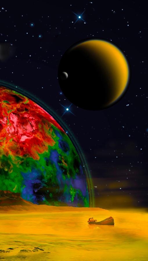 Poster Digital Art - Yellow Sea On Kepler 186d by Chuck Mountain