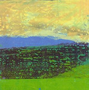 Abstract Landscape Mixed Media - Yellow Sky by Billie J  Sullivan
