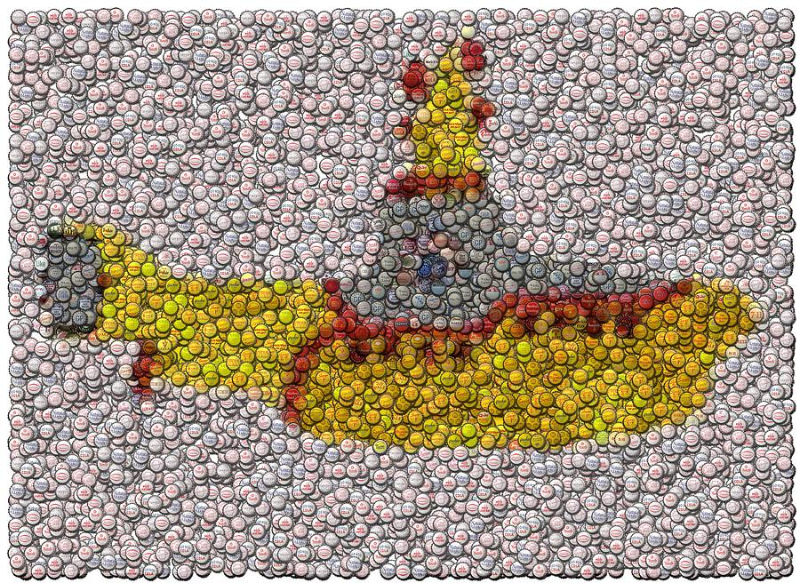 Beatles Digital Art - Yellow Submarine Bottle Cap Mosaic by Paul Van Scott