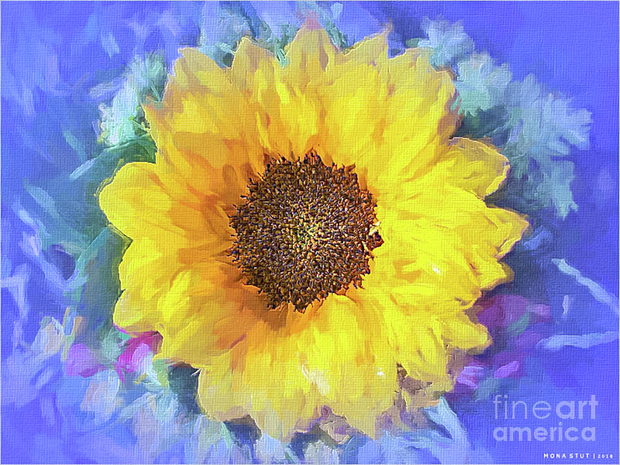 Yellow Sunflower Glow Digital Art