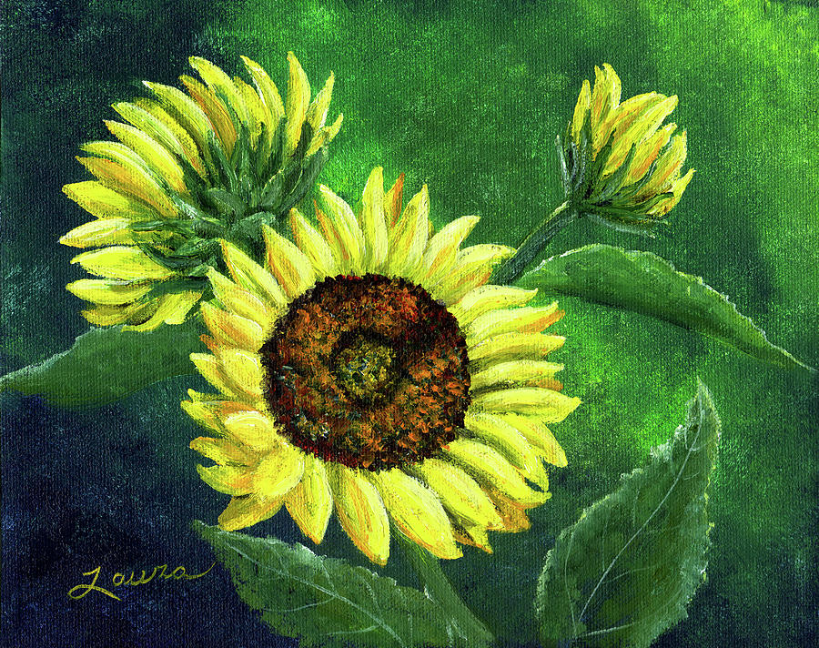Sunflower Painting - Yellow Sunflowers On Green by Laura Iverson