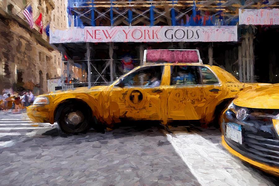 Yellow Digital Art - Yellow Taxi Cab by Matthew Ashton