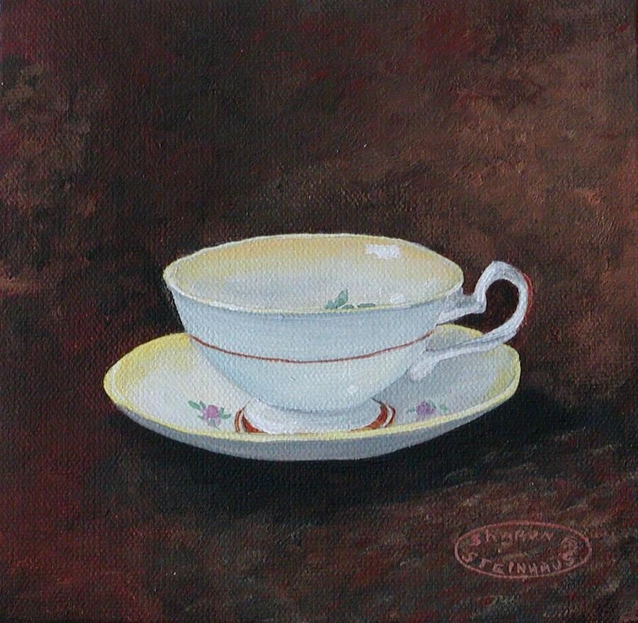 Yellow Teacup Painting by Sharon Steinhaus