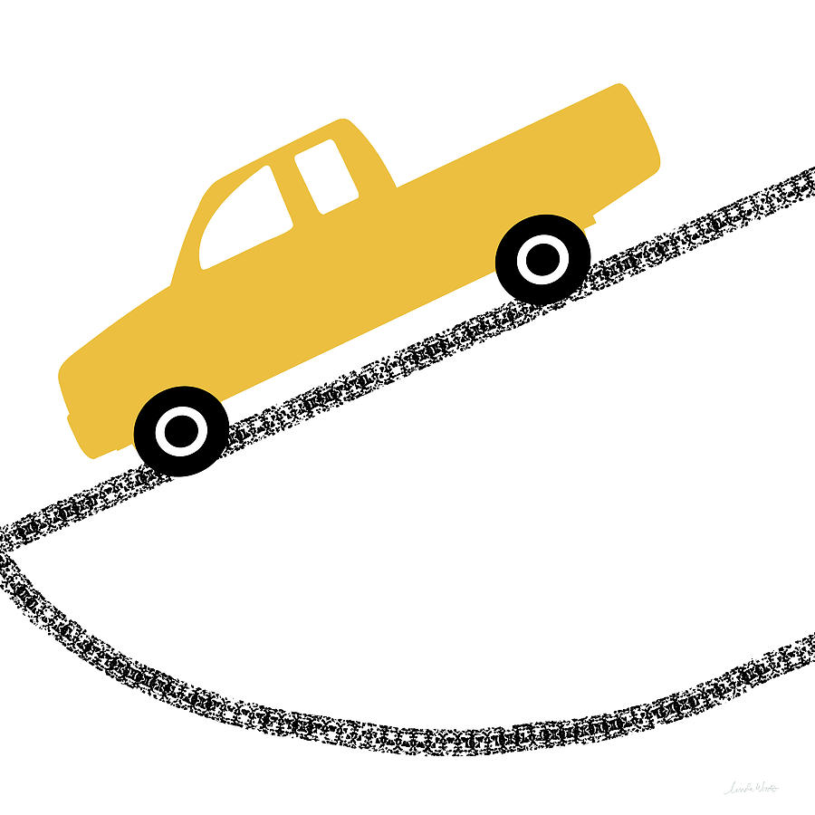 Car Digital Art - Yellow Truck On Road- Art by Linda Woods by Linda Woods