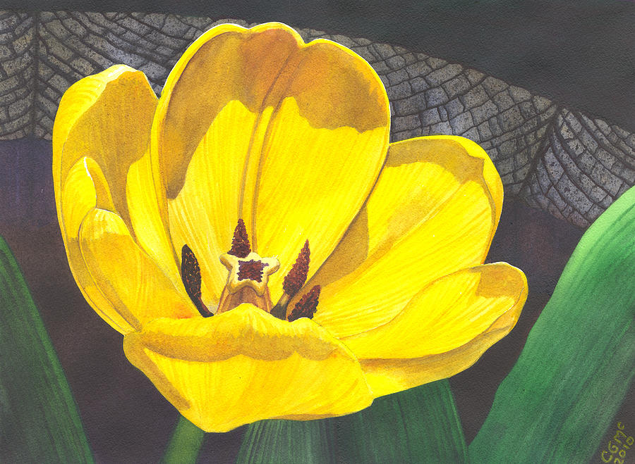 Tulip Painting - Yellow Tulip by Catherine G McElroy