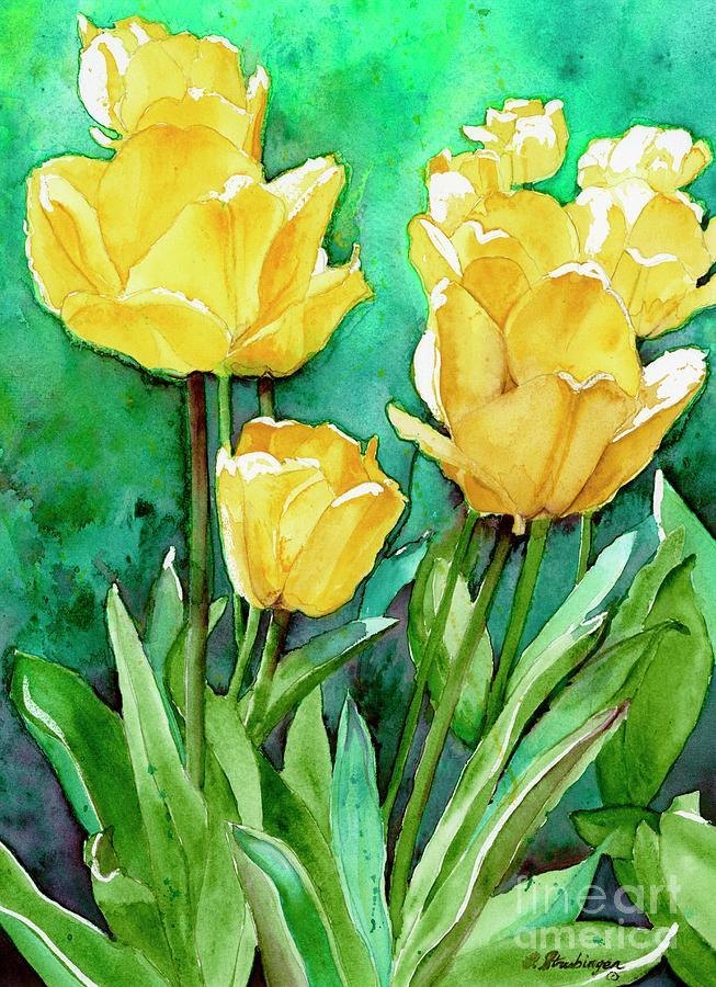 Tulips Painting - Yellow Tulips by Patty Strubinger
