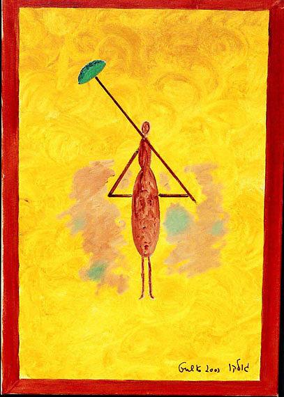 Lady Painting - Yellow Umbrella  Lady by Harris Gulko