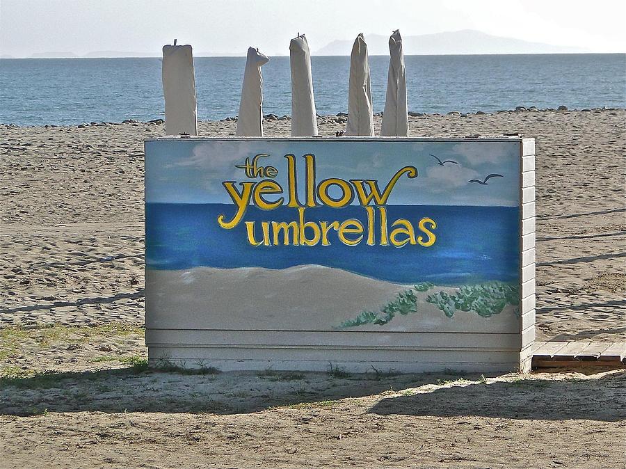 Ocean Photograph - Yellow Umbrellas by Liz Vernand