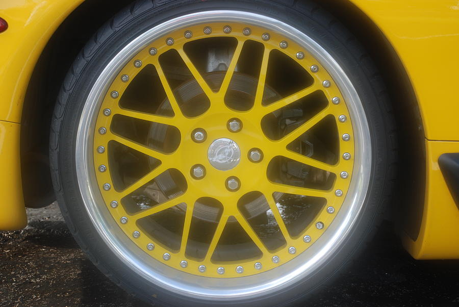 Corvette Photograph - Yellow Vette Wheel by Rob Hans