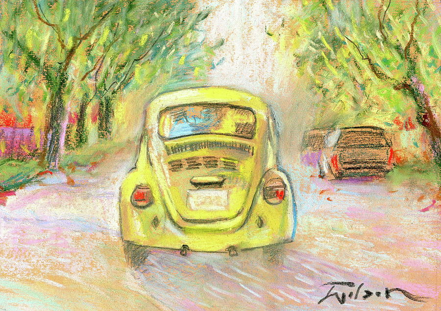 Vw Painting - Yellow Vw by Ron Wilson