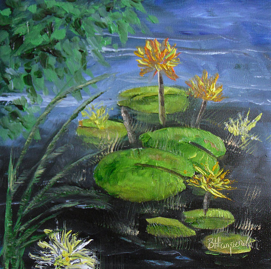 Lilies Painting - Yellow Water Lilies by Barbara Harper