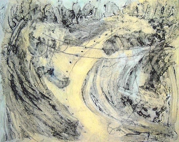 Oil Mixed Media - Yellow Way by Lorraine Thorarinson Betts