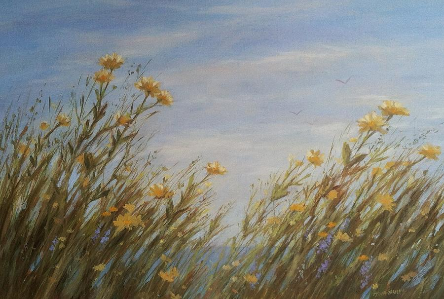 Seascape Painting - Yellow Wildflowers In The Sea Breeze by Tina Obrien