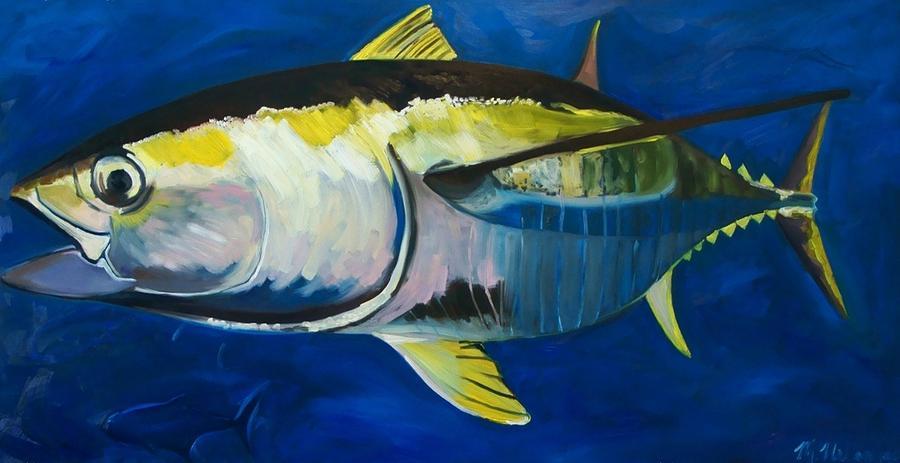 Tuna Painting - Yellowfin Tuna by Monika Urbanska